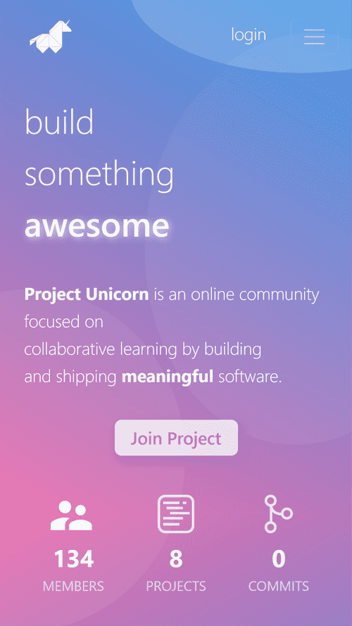 Project Unicorn app landing page